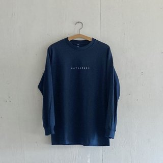 BAYGARAGE Long Sleeve T Shirt<br>New Logo<br> Navy x White Printed