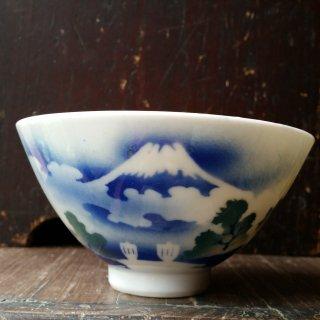 吹き絵茶碗 富士山