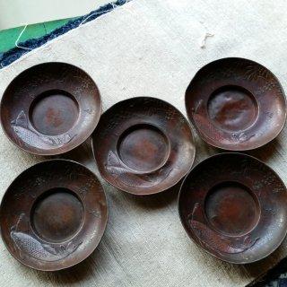 銅の茶托 鯉と藤の花 5枚組