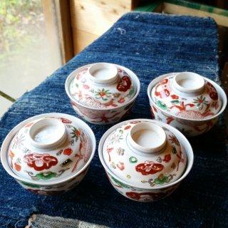 赤絵 蓋付き御茶碗 四客組
