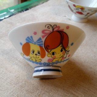 昭和レトロな子ども茶碗 女の子と犬