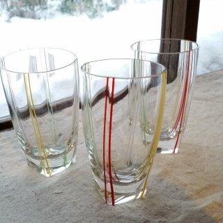 4色ラインのガラスコップ/3個セット