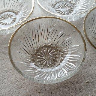 レトロガラス 金縁 器/4枚セット