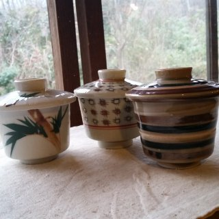 蓋付き蒸し碗 柄違い3個セット