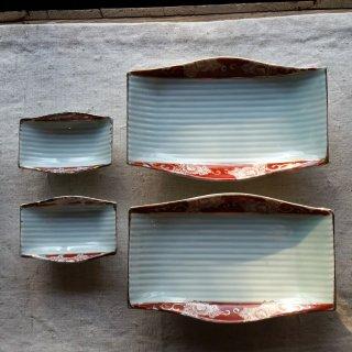 赤絵芍薬 焼物皿と豆皿のセット