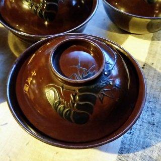 茶漆 蓋付椀 海老 5客セット