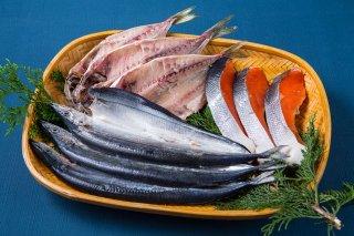 朝食にオススメの干物3種(あじ、さんま、紅鮭)セット