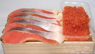 【親子セット】チリ産塩銀鮭(5切れ)と塩イクラ(200g)の親子セット