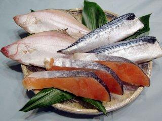 塩銀鮭、エテカレイ、塩さばのセット