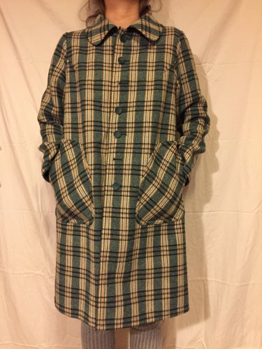 vintage green check reversible coat