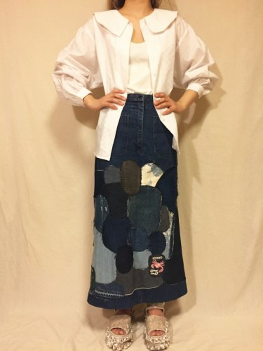 used(90's)remake denim skirt