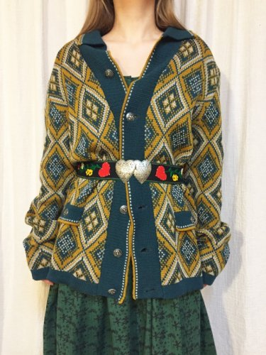 vintage green & yellow knit cardigan