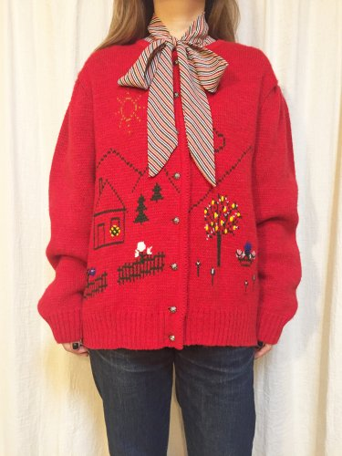 vintage tyrol red embroidery cardigan