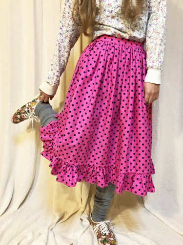 vintage (70's) pink × black dot skirt