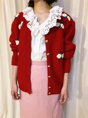 vintage red flower embroidery cardigan