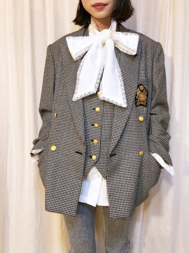 used houndstooth check double jacket