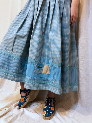 vintage light blue check skirt
