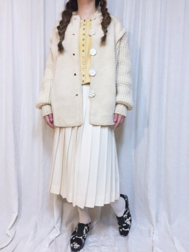 vintage off white plain & cable knit cardigan