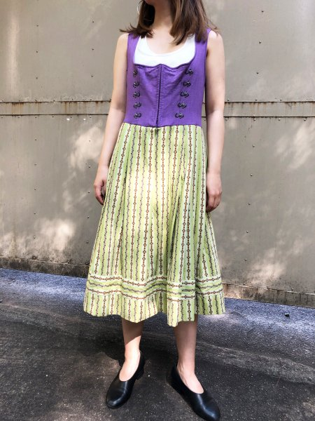 purple, yellowish green tyrol dress