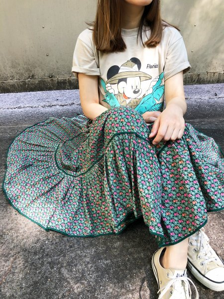 vintage green  pedicel gather skirt