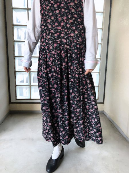 flower print corduroy dress