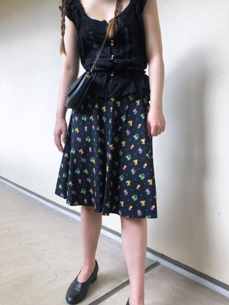 animal pattern flared skirt
