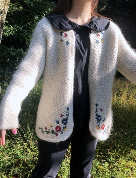 hand made white mohair cardigan