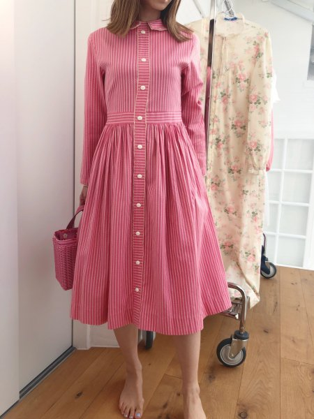 <img class='new_mark_img1' src='https://img.shop-pro.jp/img/new/icons1.gif' style='border:none;display:inline;margin:0px;padding:0px;width:auto;' />80's cotton stripe pink dress