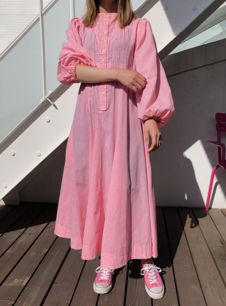 70's vogue couturier pink gingham dress