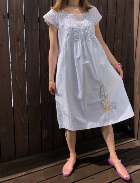 nightgown with crochet and floral embroidery cotton dress