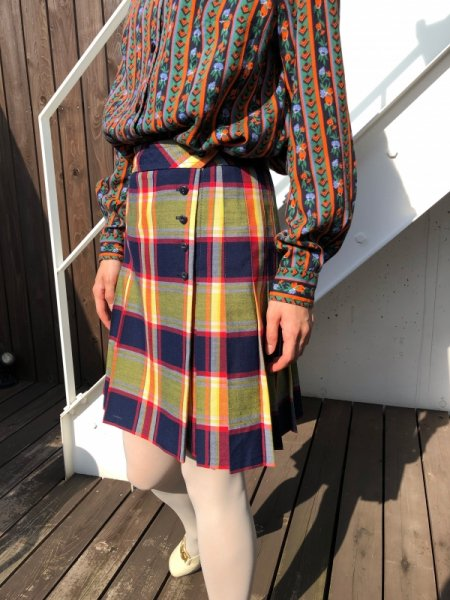 70's yellow check rolled skirt