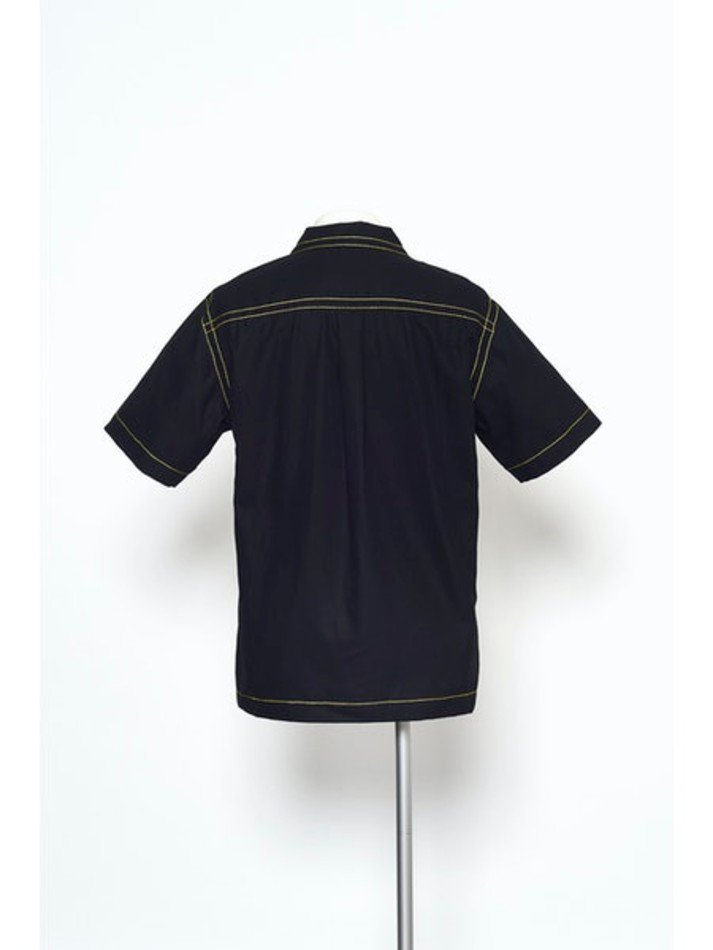 YUKI HASHIMOTO<br />CONTRAST STICH SHORT SLEEVE SHIRTS / BLACK