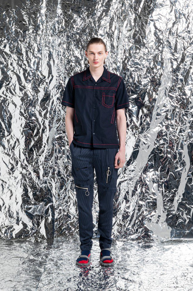 YUKI HASHIMOTO<br />CONTRAST STICH SHORT SLEEVE SHIRTS / NAVY