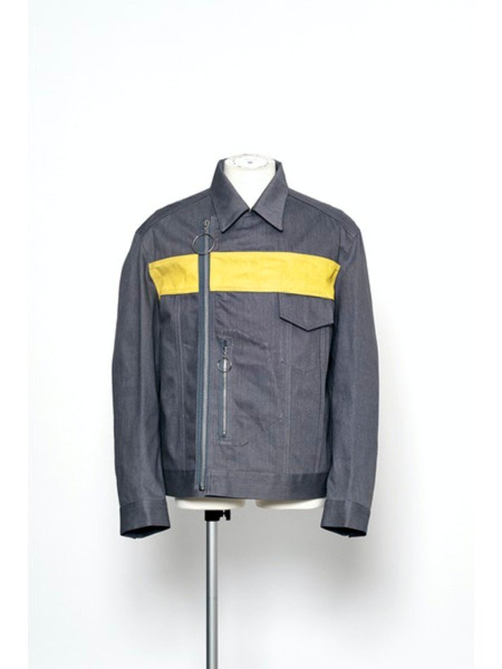 YUKI HASHIMOTO<br />DOUBLE BREASTED DENIM JACKET / GREY