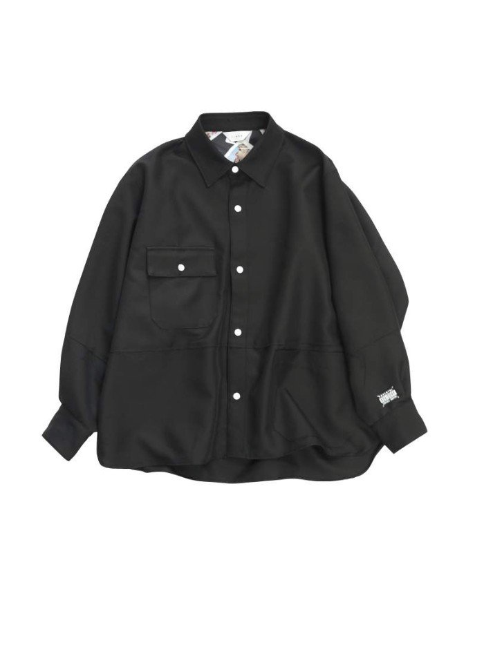 JieDa<br />CUT OFF OVER SHIRT / BLACK