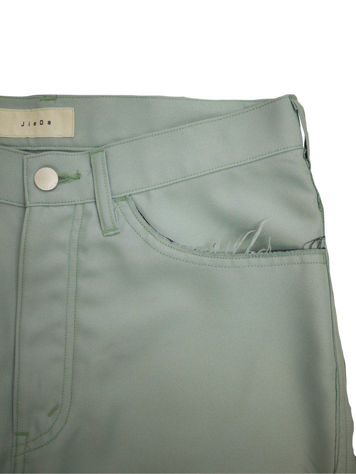 JieDa<br />POLYESTER BOOT CUT PANTS / MINT