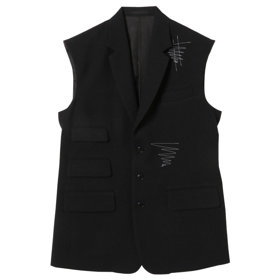 kudos<br />COVER STITCH TAILOR VEST&COVER STITCH TROUSERS SET / BLACK