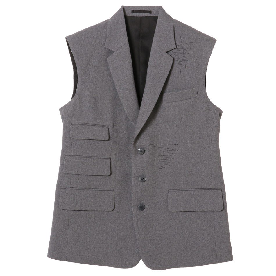 kudos<br />COVER STITCH TAILOR VEST&COVER STITCH TROUSERS SET / GRAY