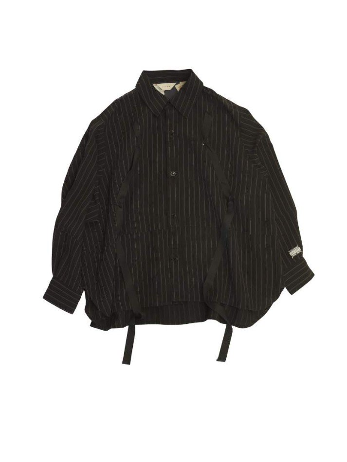 JieDa<br />RAYON STRIPE TAPE OVER SHIRT / BLACK <img class='new_mark_img2' src='https://img.shop-pro.jp/img/new/icons47.gif' style='border:none;display:inline;margin:0px;padding:0px;width:auto;' />