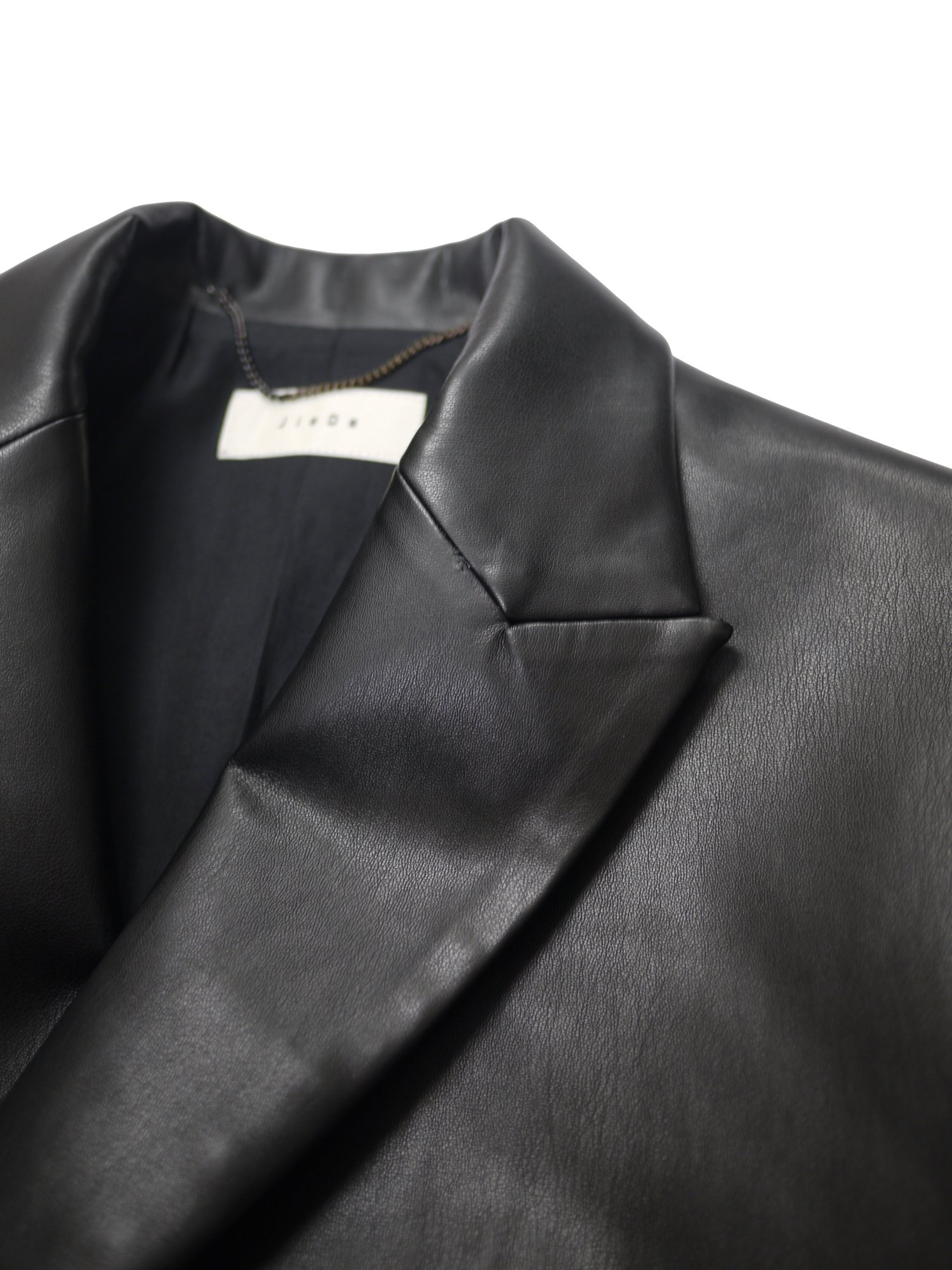 JieDa<br />FAKE LEATHER DOUBLE TAILORED JACKET / BLACK<img class='new_mark_img2' src='https://img.shop-pro.jp/img/new/icons14.gif' style='border:none;display:inline;margin:0px;padding:0px;width:auto;' />
