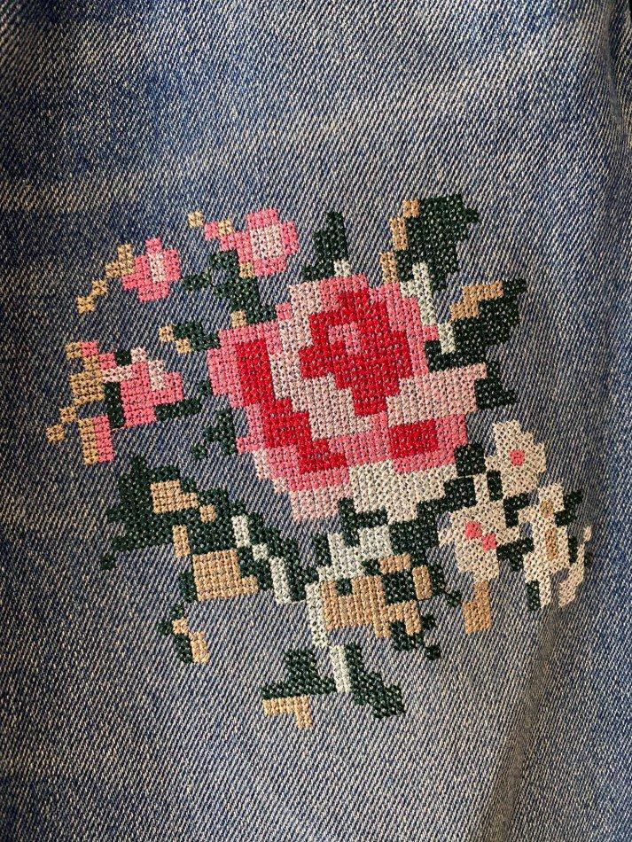DAIRIKU<br />Flower Cross Embroidery Slim Denim Pants / Indigo<img class='new_mark_img2' src='https://img.shop-pro.jp/img/new/icons14.gif' style='border:none;display:inline;margin:0px;padding:0px;width:auto;' />
