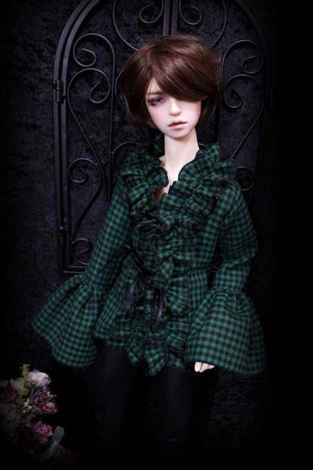 ◆SD17B◆Classical check◆フリルブラウス◆季節はずれのヒイラギ(柊グリーン)◆<img class='new_mark_img2' src='https://img.shop-pro.jp/img/new/icons39.gif' style='border:none;display:inline;margin:0px;padding:0px;width:auto;' />