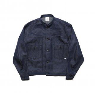 stand collar jacket  <br>-vat dyed denim-