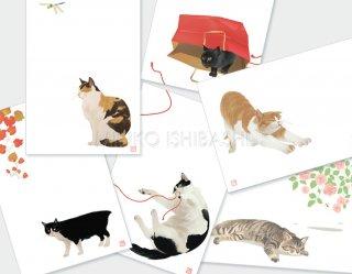 イシバシミキコ 猫の絵ハガキ(6枚組)