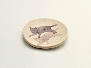 シマムラヒカリ 絵付け小皿 ネコ
