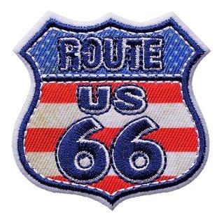 ROUTE66 アイロンパッチ FLAG SHIELD ワッペン ルート66 輸入雑貨/海外雑貨/直輸入/アメリカ雑貨