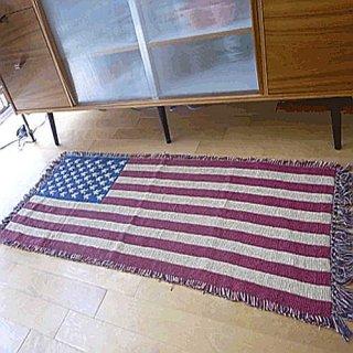 インテリアマット USA ロング ホワイト アメリカ国旗柄  輸入雑貨/海外雑貨/直輸入/アメリカ雑貨