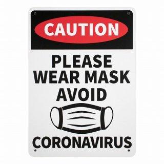 プラスチック サイン ボード Plastic Sign Board (CA-72 マスクを着用して下さい) 輸入雑貨/アメリカ雑貨