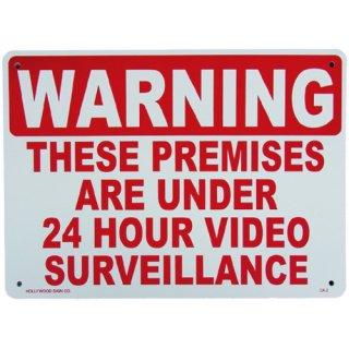 プラスチック サイン ボード Plastic Sign Board (CA-02:24時間監視中) 輸入雑貨/アメリカ雑貨