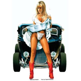 US ステッカー セクシー&ハーレーステッカー (ビンテージカー) 輸入雑貨/アメリカ雑貨